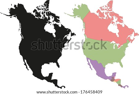 Highly Detailed Continent Silhouette and political map - North America - stock vector