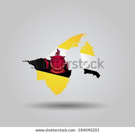Highly Detailed Country Silhouette With Flag and 3D effect - Brunei - stock vector