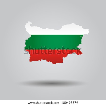 Highly Detailed Country Silhouette With Flag and 3d effect - Bulgaria