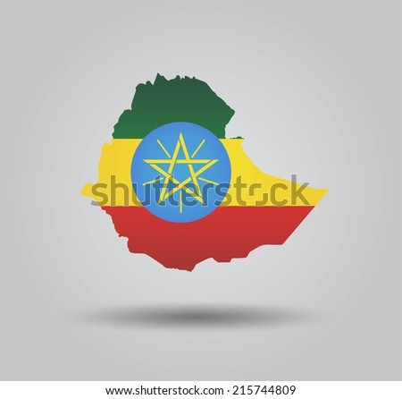 Highly Detailed Country Silhouette With Flag and 3D effect - Ethiopia