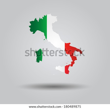 Highly Detailed Country Silhouette With Flag and 3D effect - Italy  - stock vector