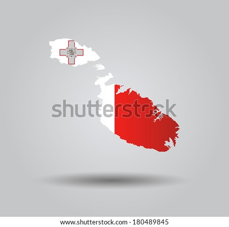 Highly Detailed Country Silhouette With Flag and 3D effect - Malta - stock vector