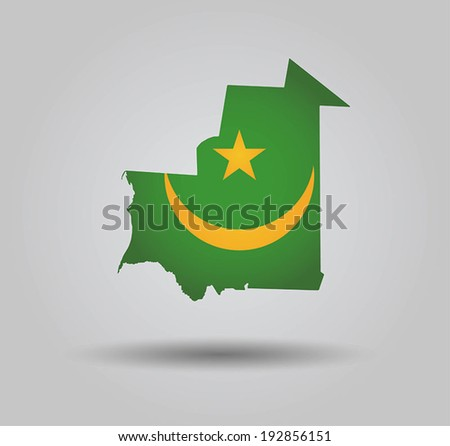 Highly Detailed Country Silhouette With Flag and 3D effect - Mauritiana
