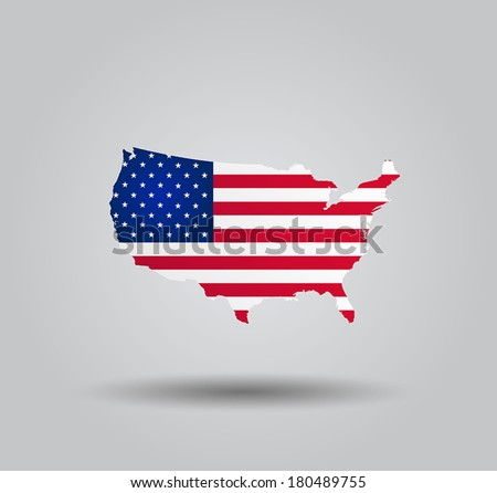 Highly Detailed Country Silhouette With Flag and 3D effect - United States Of America  - stock vector