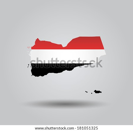 Highly Detailed Country Silhouette With Flag and 3D effect - Yemen - stock vector