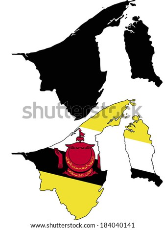 Highly Detailed Country Silhouette With Flag - Brunei - stock vector