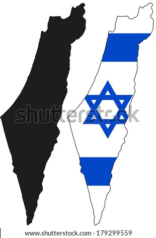 Highly Detailed Country Silhouette With Flag - Israel - stock vector