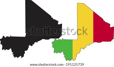 Highly Detailed Country Silhouette With Flag - Mali - stock vector