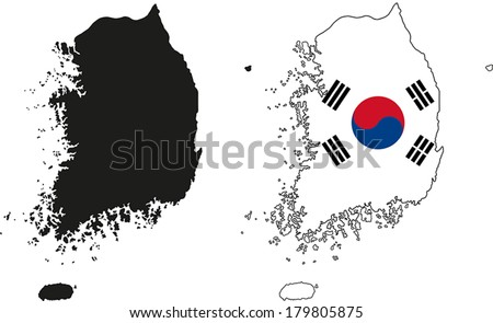 Highly Detailed Country Silhouette With Flag - South Korea