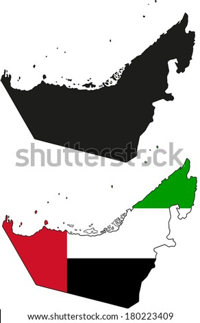 Highly Detailed Country Silhouette With Flag - United Arab Emirates - stock vector