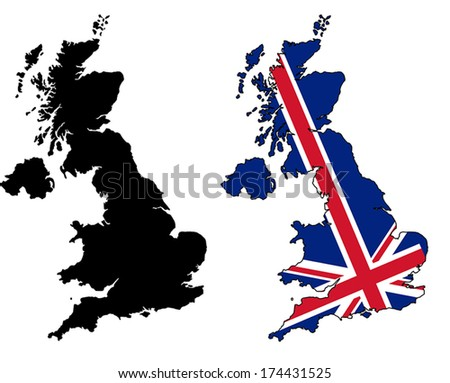 Highly Detailed Country Silhouette With Flag - United Kingdom