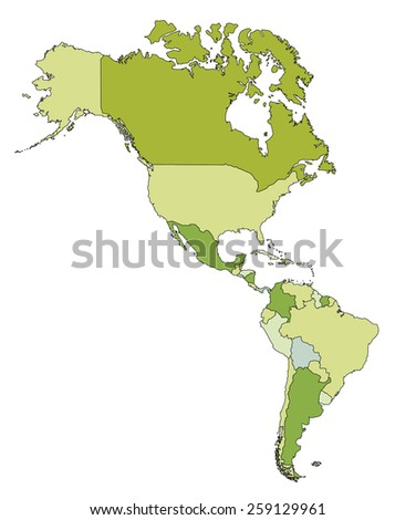Highly detailed editable political map. Americas. - stock vector