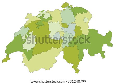 Highly detailed editable political map. Switzerland. - stock vector