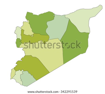 Highly detailed editable political map. Syria.