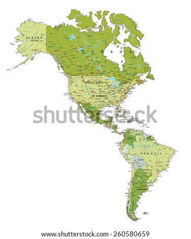 Highly detailed editable political map with labeling. Americas. - stock vector