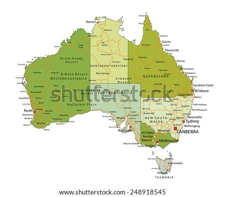 Highly detailed editable political map with separated layers. Australia. - stock vector