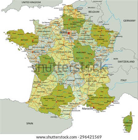 Highly detailed editable political map with separated layers. France. - stock vector