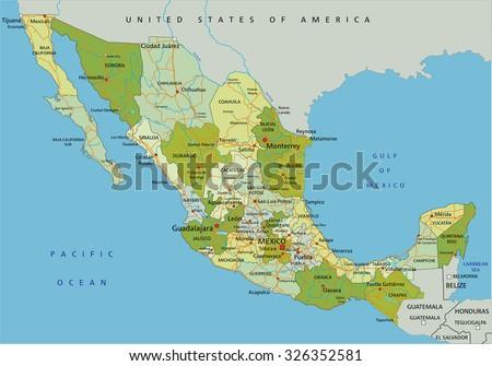 Highly detailed editable political map with separated layers. Mexico. - stock vector