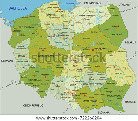 Highly Detailed Editable Political Map Separated Stock Vector - Poland political map