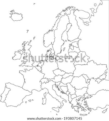 Highly Detailed Europe Blind Map. - stock vector