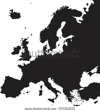Highly Detailed Europe Map Silhouette. - stock vector