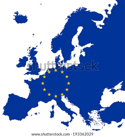Highly Detailed Europe Map Silhouette With European Union Flag. - stock vector