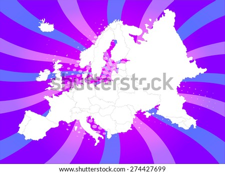 Highly Detailed Europe Map with Captivating Background - Vectors - stock vector