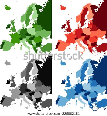 Highly Detailed Europe political map in four different color. - stock vector