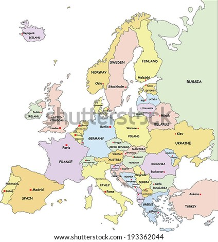 highly detailed europe political map with country and capitals name