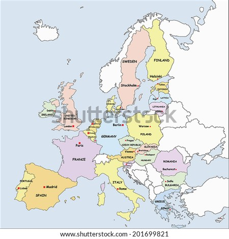 Highly Detailed Europe Political Map with the European Union member states. - stock vector