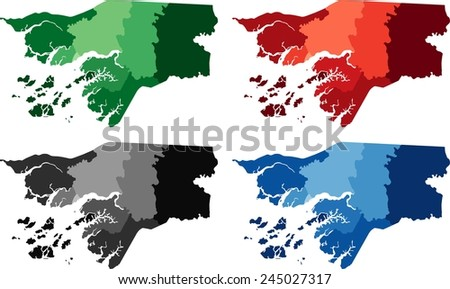 Highly Detailed Guineabissau Political Map Four Stock Vector
