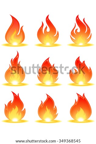 highly detailed illustration flames set on isolate white background - stock vector