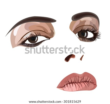 Highly detailed illustration of a young woman's face with make up. Easy editable layered vector illustration.  - stock vector
