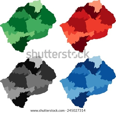 Highly Detailed Lesotho Political Map Four Stock Vector - Lesotho political map