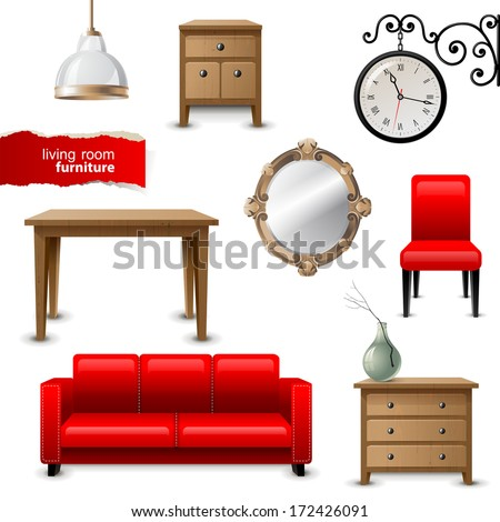 Highly detailed living room furniture icons - stock vector