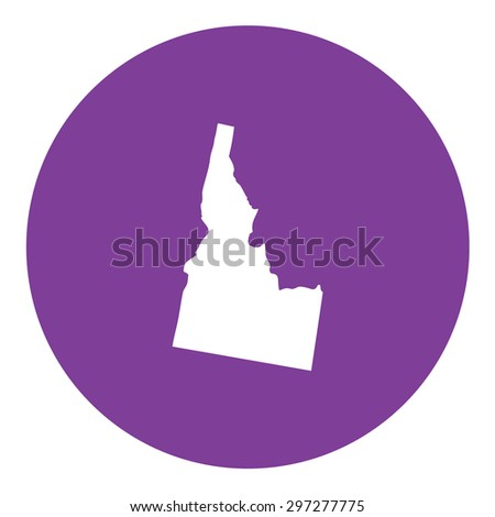 Highly detailed map inside a circle of the state of Idaho - stock vector