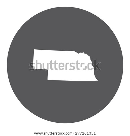 Highly detailed map inside a circle of the state of Nebraska - stock vector