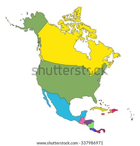 Highly Detailed map of North America on white background