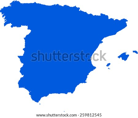Highly detailed map of Spain - stock vector