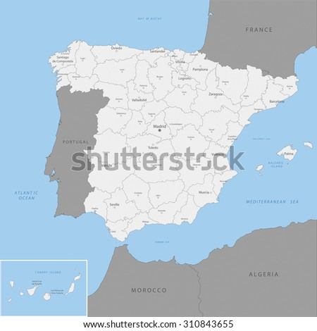 Highly detailed map of Spanish county, vector.  - stock vector