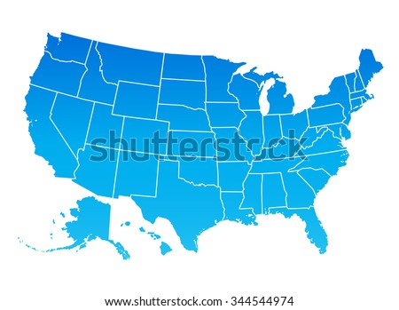 Highly Detailed Map United States America Stock Vector 344544974