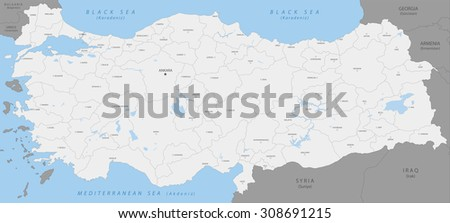 Highly detailed map of Turkey, vector.  - stock vector