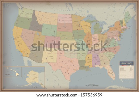Highly Detailed Map of United States. Highway and Population Map - stock vector