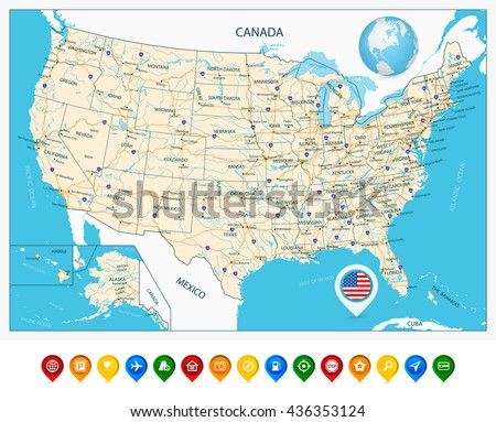 Highly Detailed Map United States Cities Stock Vector - Us map including alaska