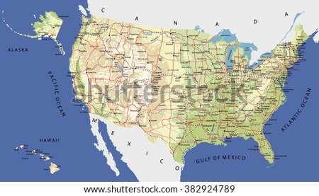 Highly Detailed Map of United States. With cities, roads, railways, lakes, rivers, relief, states, Alaska and Hawaii  - stock vector