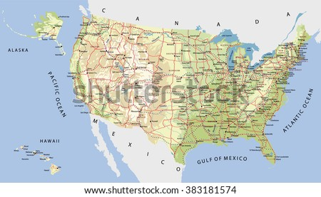 highly detailed map of united states with cities roads railways lakes