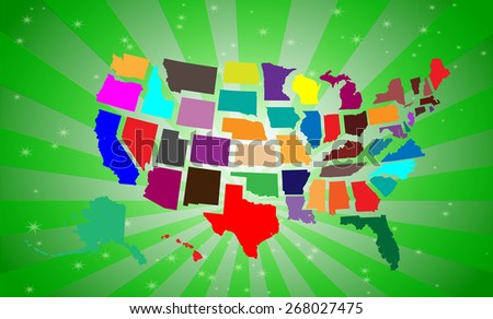 Highly Detailed Maps of The United States - Attractive Background Included - stock vector