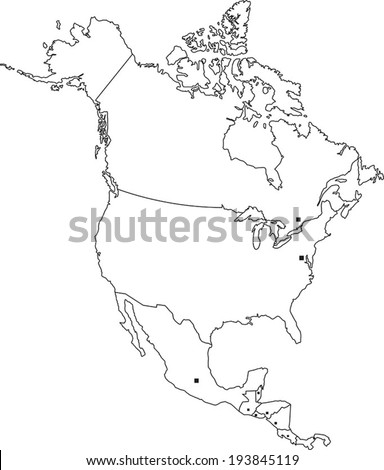 Highly Detailed North America Blind Map With Capital Dots. - stock vector