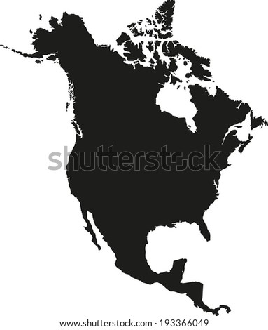 Highly Detailed North America Map Silhouette. - stock vector