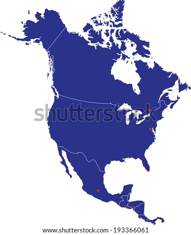 Highly Detailed North America Map Silhouette With Country Capitals. - stock vector